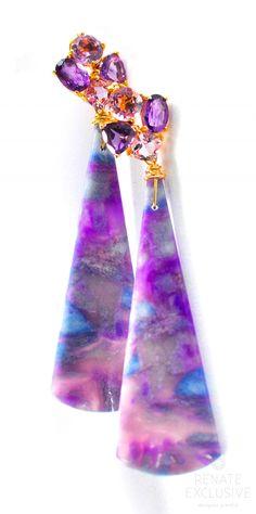 "Holiday Special! HUGE Extraordinary African Purple Sugilite Earrings ""Extraordinary Lady"" - Handmade Jewelry - Renate Exclusive - 1"