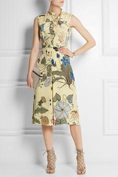 Gucci|Floral-print silk-cady dress|NET-A-PORTER.COM