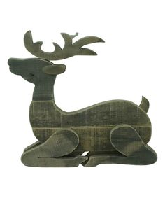 Look at this Laying Wood Reindeer on #zulily today!