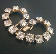 Vintage Bracelet Gold Tone Crystal Clear Glass Rhinestone Elegant 4115