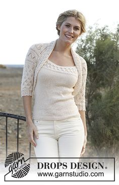 Akropolis / DROPS 139-5 - Gratis strikkeopskrifter fra DROPS Design Shrug Knitting Pattern, Knitting Patterns Free, Knit Patterns, Free Knitting, Drops Design, Summer Knitting, White Jeans, Diy And Crafts, Wool