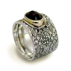 Gemstone engagement ring  Wide sterling silver band door artisanlook