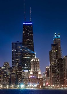 Skyscrapers at night along Chicago's North Avenue Beach. Shout out to Chris Smith/Out of Chicago for putting together a great meet up. Chicago Usa, Chicago Photos, Chicago Skyline, Chicago Illinois, Chicago City, Milwaukee City, Cities, Chicago Photography, My Kind Of Town