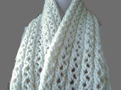 Knitted Creme Cable Scarf Hand Knit Scarves by CherylsKnits
