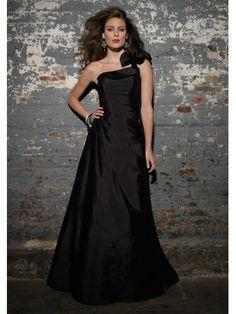 Taffeta Ruffle One-Shoulder Floor-length Bridesmaid Dress