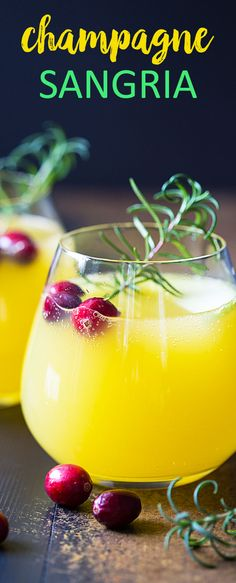 Champagne Sangria - A sweet, savory and tart sangria with rosemary simple syrup. Such an easy fall sangria! Cocktails, Cocktail Drinks, Fun Drinks, Yummy Drinks, Beverages, Cocktail Ideas, Holiday Drinks, Party Drinks, Mixed Drinks