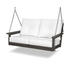 The Vineyard Deep Seating Swing combines the cozy comfort of soft buttoned back pillows with the soothing motion of a swing. Perfect for two or roomy for one, this all-weather swing pairs well with Newport End Tables and the rest of the Vineyard Deep Seat Porch Swing Frame, Bench Swing, Porch Swings, Front Porch Furniture, Outdoor Sofa, Outdoor Furniture, Outdoor Rooms, Hanging Beds, Swinging Chair