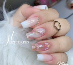 Casual Nails, Classy Nails, Simple Nails, Cute Acrylic Nail Designs, Best Acrylic Nails, Gel Nail Designs, Blue Glitter Nails, Pink Nails, French Manicure Nails
