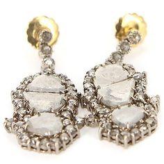 Estate 14 Karat Yellow Gold Sterling Silver Diamond Dangle Earrings Fine Jewelry $795