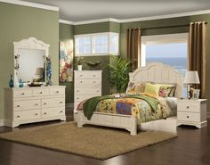 STYLE : 34900 JARDIN DISTRESSED VINTAGE PINE COLOR -7 PC BEDROOM SET   ALSO AVAILABLE IN QUEEN, CAL KING AND EASTERN KING -ADDITIONAL ITEMS AVAILABLE (CHEST AND MATTRESS SOLD SEPARATELY )  -CALL FOR PRICE AT 760-324-0204 .......... DIMENSIONS : DRESSER  W63 x D16 x H36 MIRROR  W43 x D02 x H50   NIGHT STAND  W24 x D16 x H25 QUEEN HEADBOARD  W65 x D03 x H61 QUEEN FOOT BOARD  W65 x D04 x H15 CHEST W36 x D16 x 52 PLEASE CALL 760-324-0204