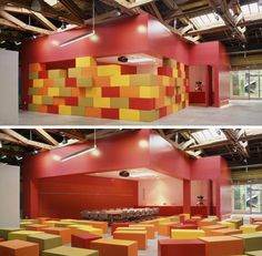 stack away walls and seating. this would make a sick youth room idea.