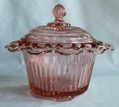 Open lace, pink depression glass, candy dish