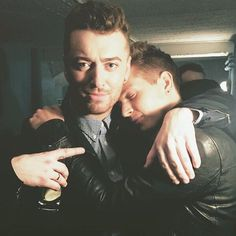 Sam Smith and James McVey from The Vamps backstage after Sam's final show at The O2 Academy in Brixton (London).