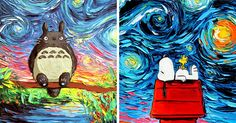 Artist's Painting Gets Mistaken For A Van Gogh, So She Creates Brilliant 'Starry Night' Series   Bored Panda