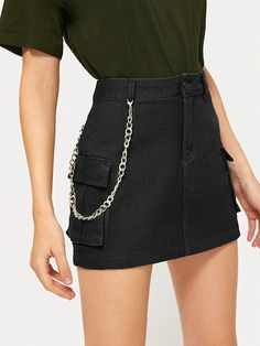To find out about the Button Waist Chain Detail Denim Skirt at SHEIN, part of our latest Denim Skirts ready to shop online today! Teen Fashion Outfits, Casual Outfits, Cute Outfits, Fashion Skirts, Overall Skirt, Zeina, Mini Pencil Skirt, Mein Style, Jeans Rock
