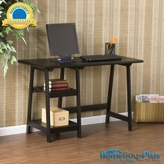 Langston Black Desk Home Computer Desk Study Shelves Storage.  $149.99