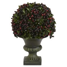 Silk pepper berry ball topiary in a Greco-Roman vase.     Product: Set of 3 faux topiaries Construction Material: Pl...