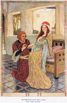 Sir Tristram gave her a ring, from 'King Arthur and the Knights of the Round Table', by Doris Ashley, published 1921 King Arthur Legend, Legend Of King, Medieval, Green Knight, Mythology, Celtic, Fairy Tales, Illustration Art, Illustrations