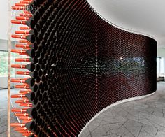 wow..a brush wall ..8,400 make-up brushes