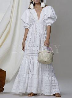 Cute Maxi Dress, White Maxi Dresses, Maxi Dress With Sleeves, White Dress, Short Sleeve Dresses, Summer Dresses, White Lace, Lace Dresses, 1950s Dresses