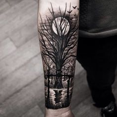 Coolest inner arm tattoos - you must see Forest Tattoo Arm, Tree Tattoo Arm, Forest Tattoos, Tattoo Moon, Wald Tattoo Arm, Trendy Tattoos, Cool Tattoos, Small Tattoos, Unique Tattoos