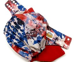 VINTAGE AMERICAN FLAG PUL ONE SIZE POCKET CLOTH DIAPER 12-35+LBS by Honeybuns