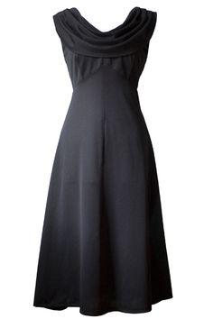 1970s Drape Front Black Dress
