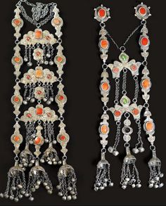 Turkestan | Plait ornaments ~ saclyk ~ from the Yomud people | silver, silver gilt, carnelian and glass | 20th century | 1700€ ~ sold (May/08)