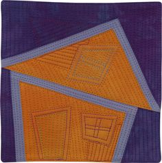 "Home #53  ©2010 Lisa Call  6"" x 6""  Textile Painting (Fabric hand dyed by the artist, cotton batting, cotton thread)  Mounted on stretched canvas  http://lisacall.com"