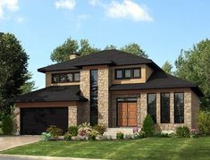House Plan 50323   Contemporary Modern Plan with 2072 Sq. Ft., 3 Bedrooms, 2 Bathrooms, 2 Car Garage