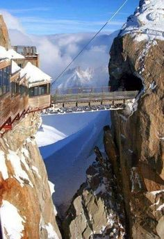 Aiguille du Midi in Chamonix, France. The highest point in France. The Aiguille du Midi m) is a mountain in the Mont Blanc massif in the French Alps. Dream Vacations, Vacation Spots, Vacation Destinations, Amazing Destinations, Places To Travel, Places To See, Travel Things, Wonderful Places, Beautiful Places