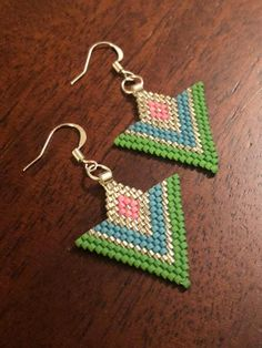 Your place to buy and sell all things handmade Brick Stitch Earrings, Seed Bead Earrings, Beaded Earrings, Seed Beads, Crochet Earrings, Beaded Jewellery, Jewelry, Beaded Bracelets Tutorial, Bead Loom Bracelets