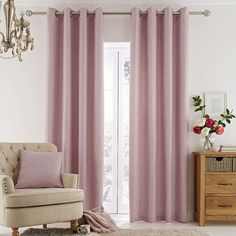Vermont Pink Lined Eyelet Curtains   Dunelm