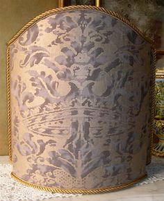 Venetian Lamp Shade in Fortuny Fabric Grey & by OggettiVeneziani