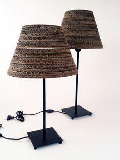 2 lampy stojące na biurko / 2 table lamps, design, home, Cardboard furniture, meble z tektury, eko, ekologiczne, diy, zrób to sam, cardboard lamp