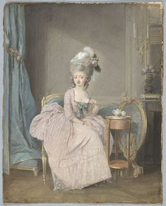 Lady Drinking Tea by Nicolas Lavreince, French (1737 - 1807).  Drawing