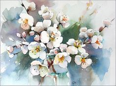 Spring Blossoms    Original unframed watercolor painting on a high quality 300 g/m - 140lb Acid Free Utrecht watercolor paper. Hand painted and