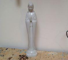 Vintage Virgin Mary statue porcelain by karmolijntje on Etsy