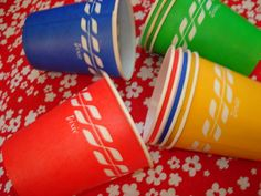 Dixie Cups, they were wax covered. We used the 5 oz ones for our Friday night popcorn and Pepsi tradition!