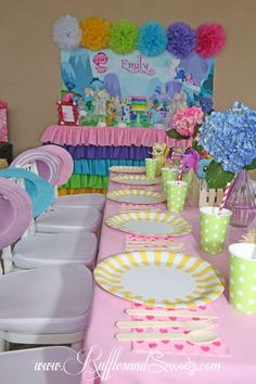 My Little Pony birthday party table and dessert table!  See more party planning ideas at CatchMyParty.com!
