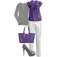 Purple, White & Gray...great outfit for my purple coach purse