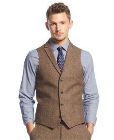 Bar III Carnaby Collection Slim-Fit Brown Tweed Herringbone Vest - Suits & Suit Separates - Men - Macy's