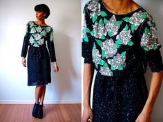 Vtg Sequined Roses Silver Green Black Lightweight by LuluTresors, $79.99