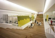 TBWA/Hakuhodo offices in Tokyo, Japan. Designed by Klein Dytham architecture. Workspace Design, Office Interior Design, Corporate Interiors, Office Interiors, Workspace Inspiration, Interior Design Inspiration, Wooden Staircase Design, Cool Office Space, Office Spaces