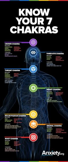 Balanced Chakras Reduce Anxiety | Chakra balancing tips infographic | Meditation | Mindfulness | Mental health & self-care                                                                                                                                                                                 More