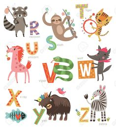 Zoo alphabet for children. set of letters and illustrations Cute Animal Videos, Funny Animal Pictures, Tiger Sketch, Kids Zoo, Nature Vector, In The Zoo, Alphabet For Kids, Photoshop Design, Watercolor Animals