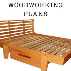 Wooden Platform Bed Woodworking Plans DIY blueprints Platform bed woodworking plans You can check them out HERE I saw a platform bed in a West Here are two plans for contemporary beds we spotted out on Build A Platform Bed, Wooden Platform Bed, Platform Bed With Drawers, Platform Bed Frame, Woodworking Furniture, Woodworking Projects Plans, Woodworking Chisels, Woodworking Videos, Custom Woodworking