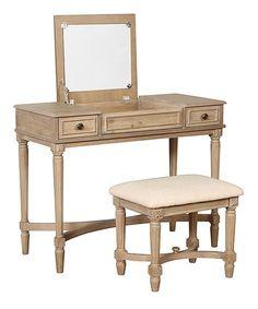 Linon Home Gray Wash Cyndi Vanity Desk Stool Zulily Bedroom Vanity Set Bedroom Vanity Furniture Vanity