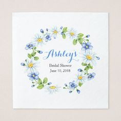 Blue White Country Daisy Wreath Bridal Shower Napkin - spring gifts beautiful diy spring time new year