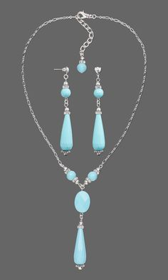 Faceted Turquoise Drop Necklace & Earrings  #Turquoise #Jewelrymaking #beading #gemstonejewelry #jewelrydesign